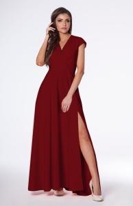 529c45d1d2 Sukienka Afrodyta bordowa - długa z rozcięciem